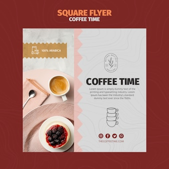 Coffee in cup and delicious cake square flyer template