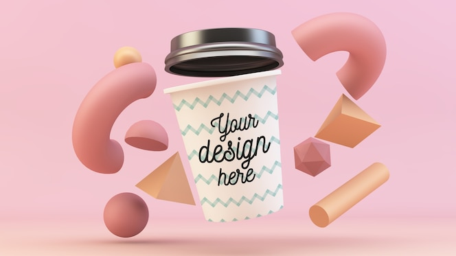 Coffee cup floating with 3d shapes mockup