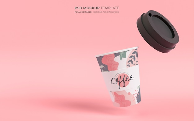 Coffee cup in gravity mockup