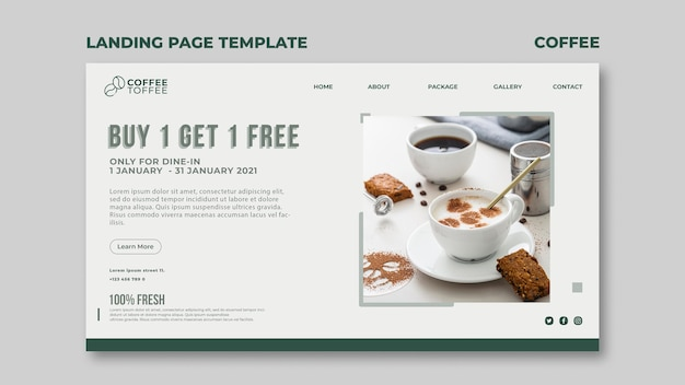 Coffee cup landing page template