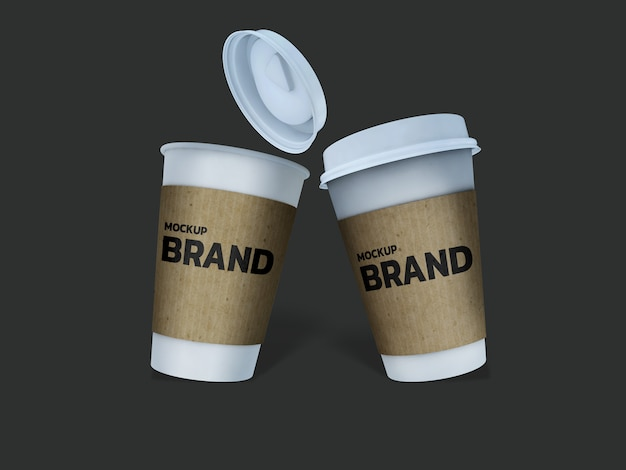 Coffee cup mockup 3d rendering design