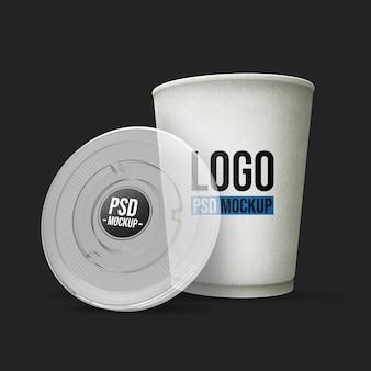 Реалистичная 3d визуализация макет чашки кофе