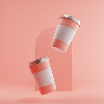 Coffee cup mockup floating isolated