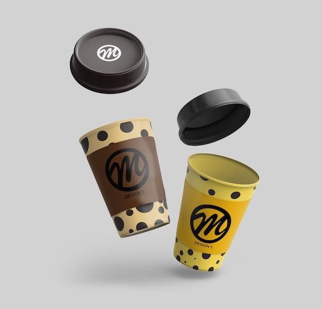 分離されたコーヒーカップのモックアップ