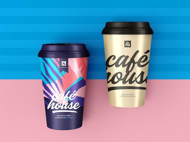 コーヒーカップのモックアップ。テイクアウトのコーヒーコンテナー