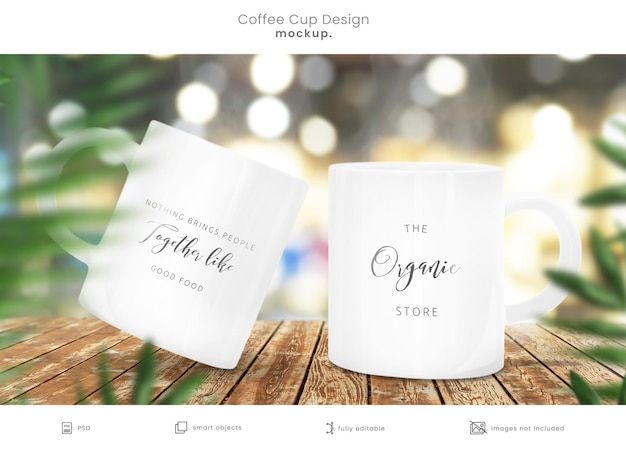 Coffee cup mockup of two mugs on wooden table