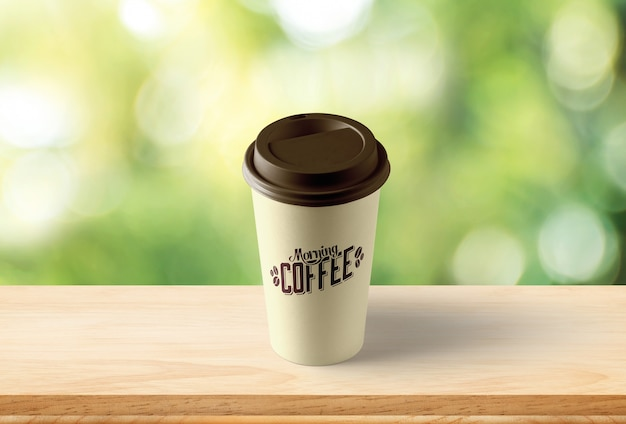 Coffee cup mockup with bokeh background