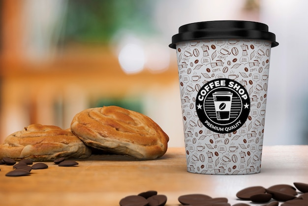 Coffee cup mockup with breakfast