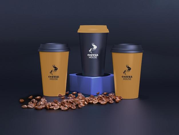 暗い背景のコーヒーカップのモックアップ