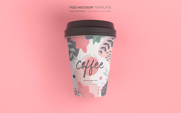 Coffee cup mockup with floral design