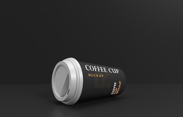 Макет кофейной чашки с подставкой для продуктов