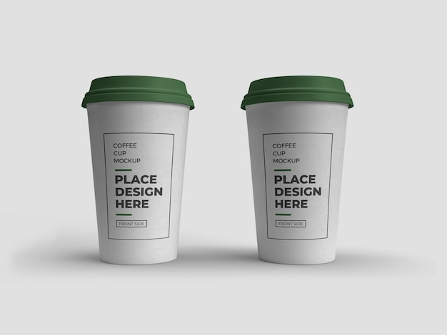 Coffee cup packaging mockup isolated