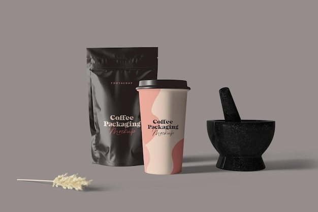 Coffee cup and pouch packaging mockup