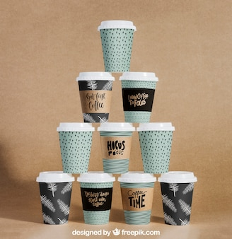 Coffee cup pyramid mockup