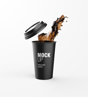 Coffee cup splash advertising mockup 3d rendering realistic
