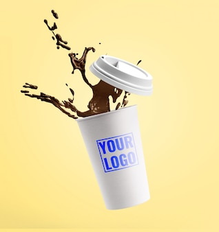 Coffee cup splashes mockup template