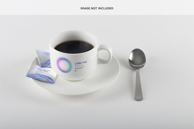 Coffee cup and sugar bags mockup