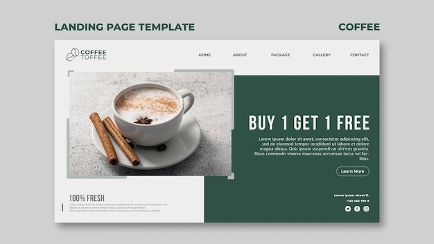 Coffee cup web template