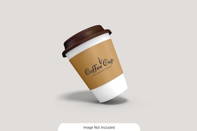 段ボールのモックアップとコーヒーカップ