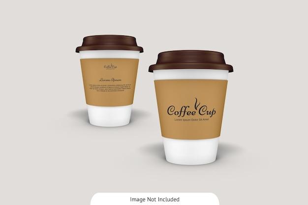 골판지 모형이있는 커피 컵 프리미엄 PSD 파일