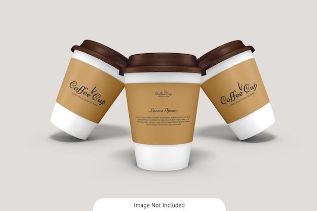 골판지 모형이있는 커피 컵