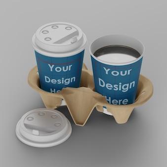 分離されたホルダーモックアップとコーヒーカップ