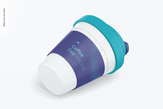 Tazza da caffè con coperchio mockup, vista isometrica