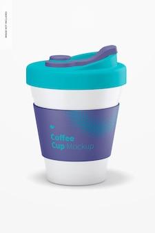 뚜껑 모형이있는 커피 컵