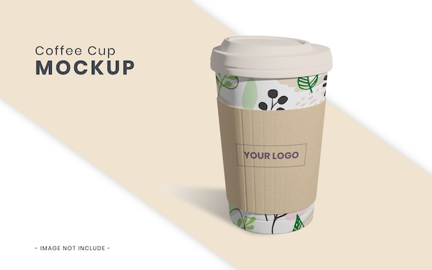 Coffee cup with paper mockup isolated