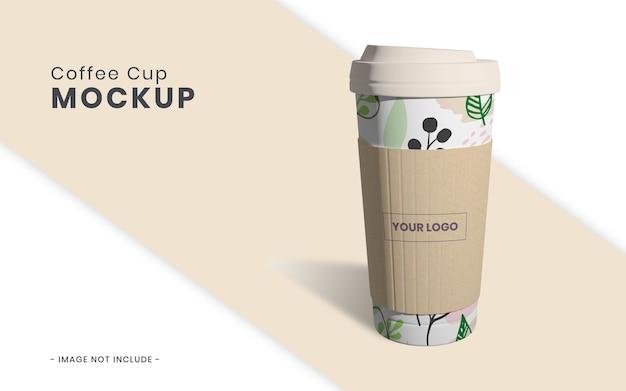 Чашка кофе с бумажным макетом изолированные