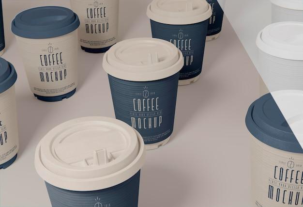 Coffee cups arrangement high angle