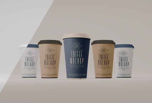 Coffee cups branding arrangement