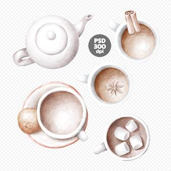 커피 컵 클립 아트, 계피 스틱, 마시멜로, 요리, 주전자 손으로 그린 그림과 커피