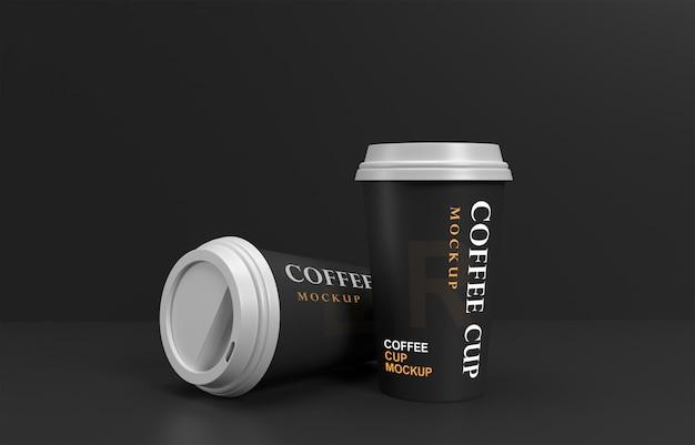 Макет кофейных чашек с подставкой для продуктов