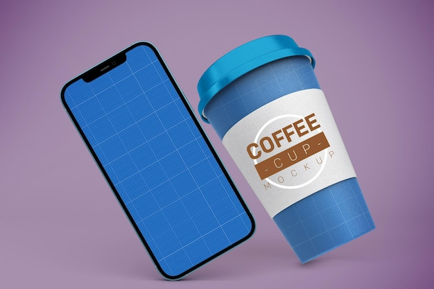 コーヒーカップとスマートフォンのモックアップ