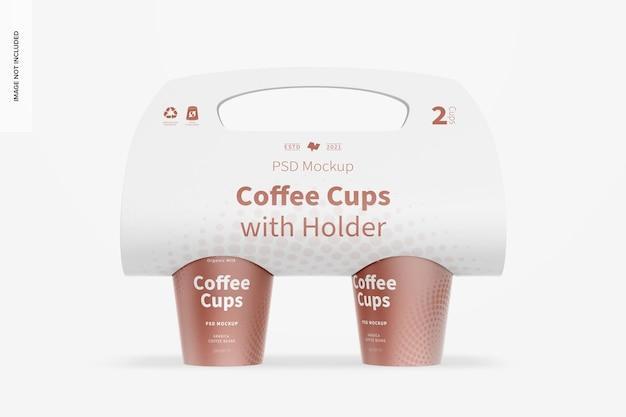 ホルダーモックアップ付きコーヒーカップ、正面図