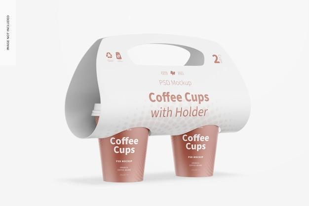 Кофейные чашки с держателем, макет, перспектива