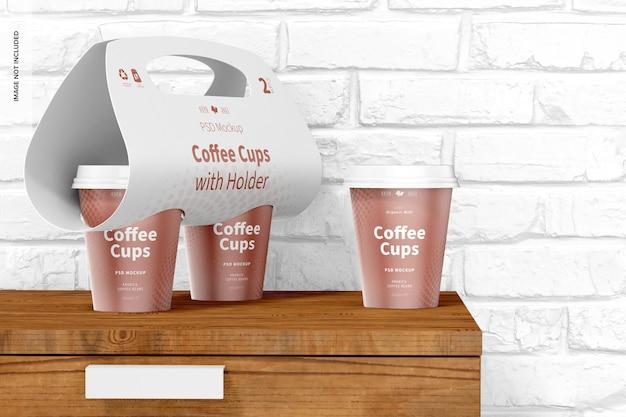 ホルダーモックアップ付きコーヒーカップ