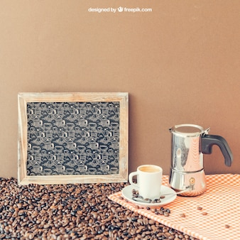 Coffee decoration with slate and coffeepot