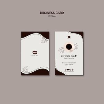 Кофейный напиток шаблон визитной карточки