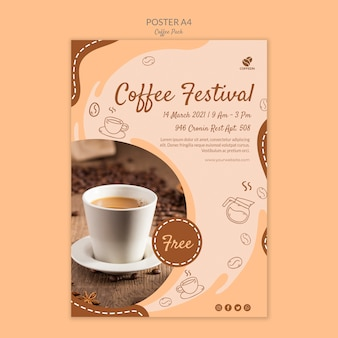 Coffee festival poster print template Free Psd