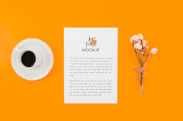 Coffee and flowers botanical mock-up