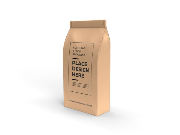 Coffee and food bag packaging mockup design isolated
