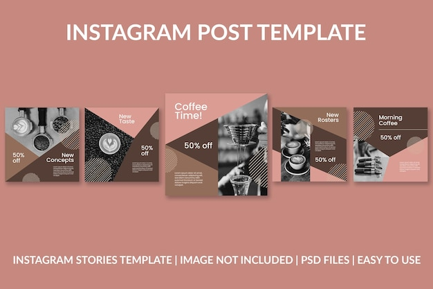 コーヒーの幾何学的なinstagramの投稿デザインテンプレート