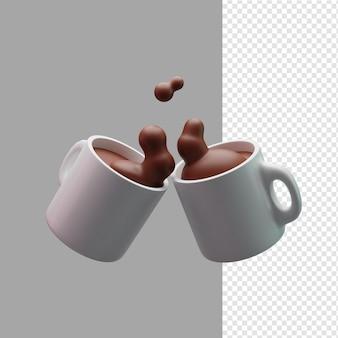 マグカップの図の 3 d レンダリングでコーヒー