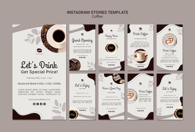 Modello di storie di instagram di caffè