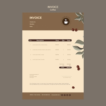 Coffee invoice template