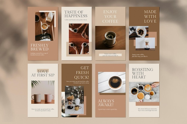 Coffee lover template psd set for social media story cafe theme