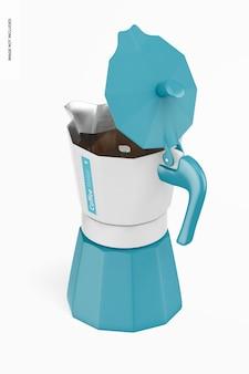 コーヒーメーカーのモックアップ、アイソメオープンビュー