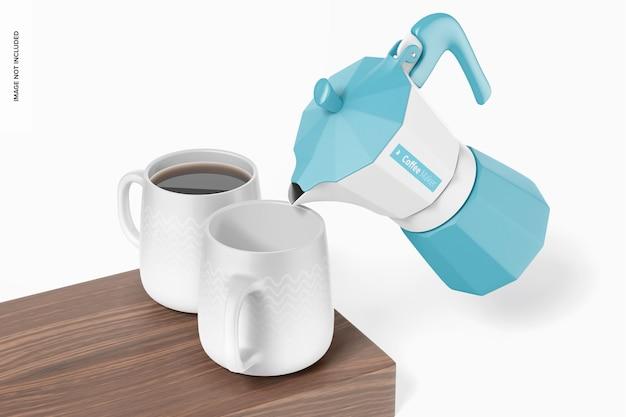 コーヒーメーカーのモックアップ、傾いた